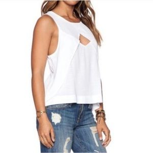 Free People Sleeveless Cut Out Front Flowy Blouse